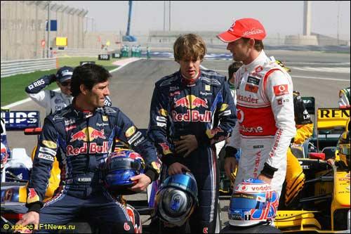 Гонщики Red Bull Racinbg и Дженсон Баттон