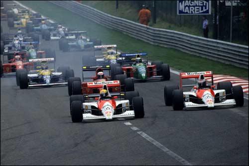 Айртон Сенна лидирует на старте Гран При Бельгии 1990 года. Фото Honda UK