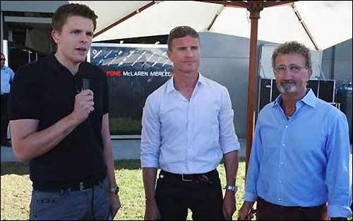 Дэвид Култхард, Эдди Джордан и Джейк Хамфри - часть бригады ВВС, комментировавшей гонки в 2010 году