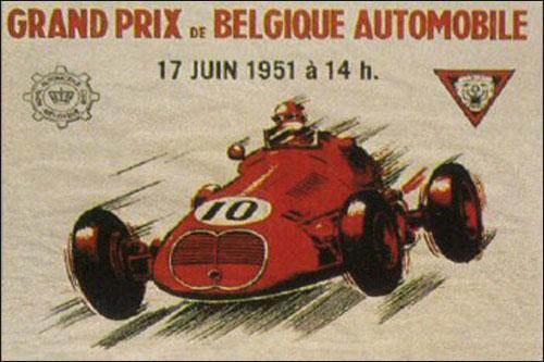 Афиша Гран При Бельгии 1951 года (фрагмент)