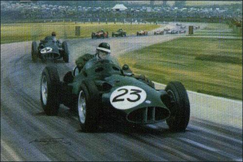 Пилоты BRM Майк Хоторн и Тони Брукс лидируют в дебюте Гран При Великобритании 1956 года. Иллюстрация Майкла Тёрнера