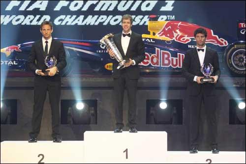 Подиум по итогам сезона на церемонии FIA Gala