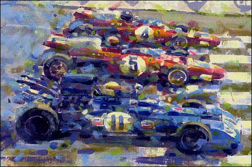 Старт Гран При Франции 1971 года. Фрагмент рисунка Роба Эйбемы