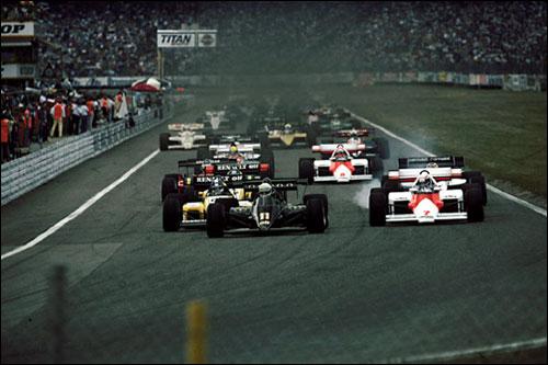 Старт Гран При Германии 1984 года: Элио де Анжелис опережает Алена Проста