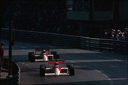 Айртон Сенна и Ален Прост на трассе Гран При Монако 1989 года
