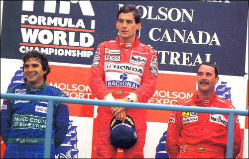 Нельсон Пике, Айртон Сенна и Найджел Мэнселл на подиуме Гран При Канады 1990 года