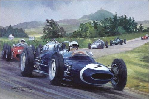 Стирлинг Мосс лидирует на первом круге Гран При Германии 1961 года. Рисунок Майкла Тёрнера