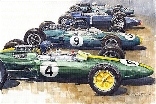 Пилоты готовятся к старту Гран При Великобритании 1963 года, на первом плане - Джим Кларк. Рисунок Юрия Шевчука