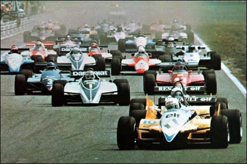 Рене Арну лидирует на старте Гран При Германии 1982 года