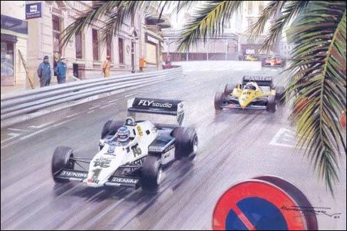 Кейо Росберг, обогнав Алена Проста, лидирует на первом круге Гран При Монако 1983 года. Рисунок Майкла Тёрнера