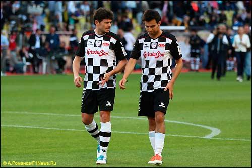 Джанкарло Физикелла и Серхио Перес на футбольном матче в Монако