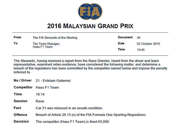 Решение стюардов о наказании Haas F1