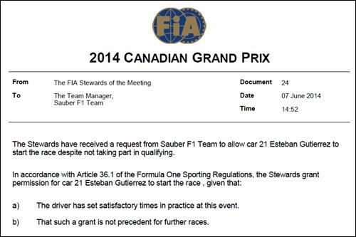 Решение стюардов Гран При Канады о допуске Эстебана Гутьерреса на старт
