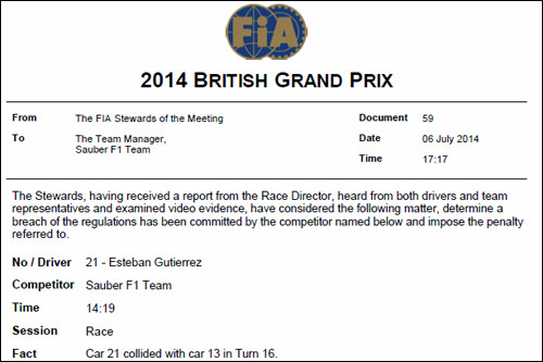 Решение стюардов Гран При Великобритании о наказании Эстебана Гутьерреса
