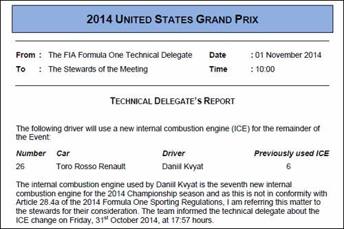 Сообщение технического делегата FIA Джо Бауэра об использовании на машине Квята седьмого двигателя