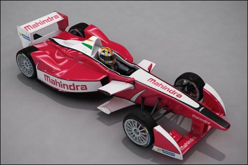 Машина Формулы E в цветах Mahindra Racing