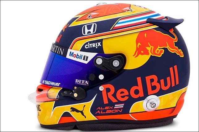 Раскраска шлема Алекса Элбона в сезоне 2020 года