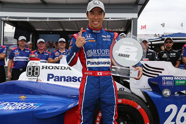 Такума Сато, победитель квалификации в Детройте