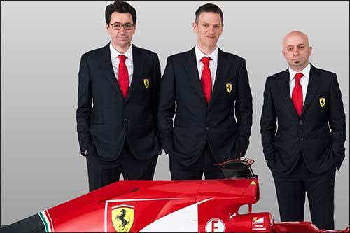 (слева направо) Маттиа Бинотто, главный моторист, Джеймс Эллисон, технический директор, и Симоне Реста, главный конструктор