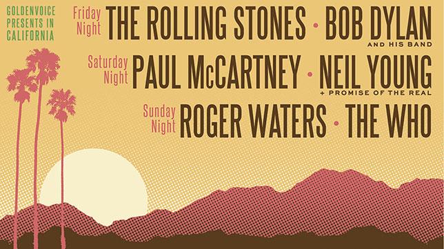 Афиша рок-фестивала Desert Trip