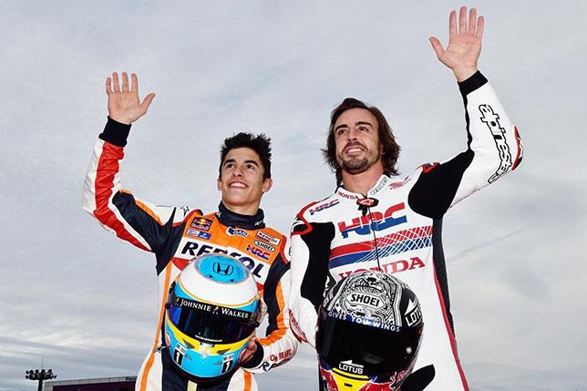 Фернандо Алонсо и Марк Маркес на прошлогоднем празднике Honda Racing Days в Японии