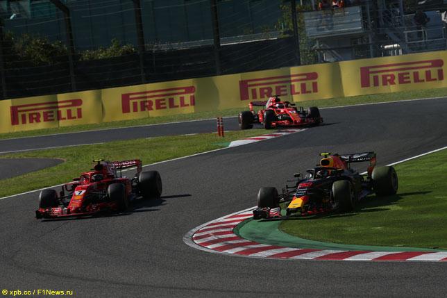 Макс Ферстаппен и гонщики Ferrari в Сузуке