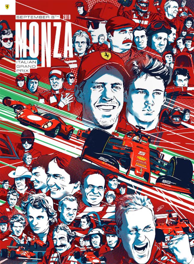 На юбилейном плакате Фернандо Алонсо найти непросто, он изображён вверху справа в шлеме и рулём в руке