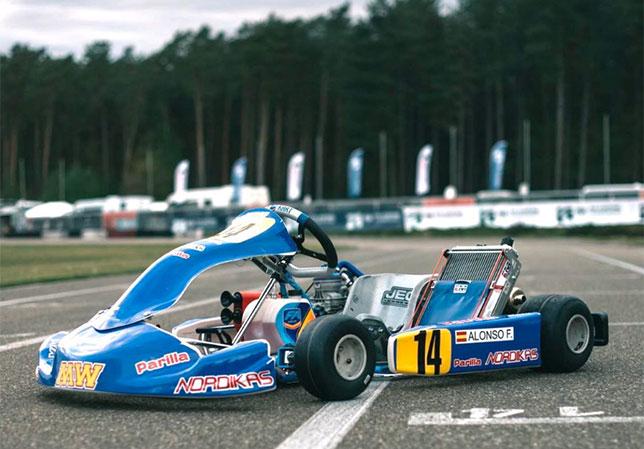 Карт команды DpK Racing, оформленный так же, как машина Фернандо Алонсо в 1996 году