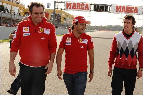 Стефано Доменикали (слева), Фелипе Масса и Фернандо Алонсо
