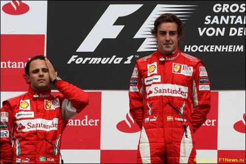 Фернандо Алонсо и Фелипе Масса на подиуме Гран При Германии