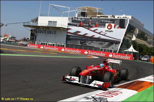 Фернандо Алонсо на трассе Гран При Европы