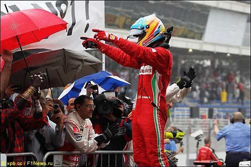 Фернандо Алонсо после финиша Гран При Бразилии