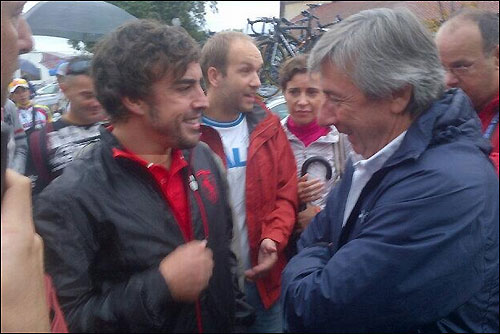 Фернандо Алонсо на чемпионате мира по велоспорту