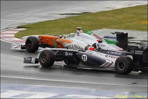Адриан Сутил и Рубенс Баррикелло на трассе Гран При Канады