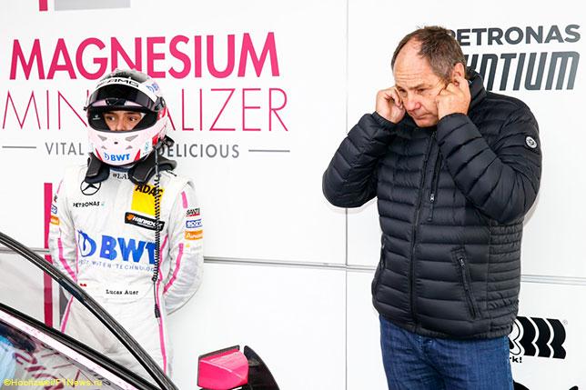 Герхард Бергер и его племянник Лукас Ауэр на этапе DTM в Хоккенхайме, 2016 год