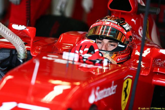 Жюль Бьянки за рулём Ferrari на тестах в Сильверстоуне, 2014 год