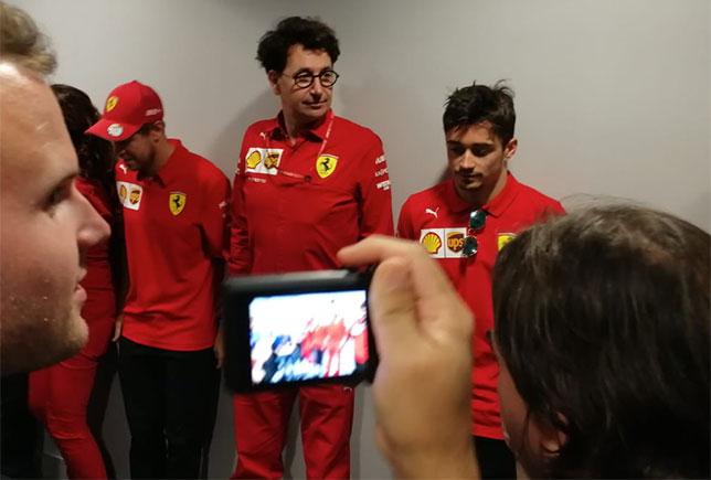 Маттиа Бинотто и гонщики Ferrari на встрече с прессой после Гран При России, фото Михаила Смирнова