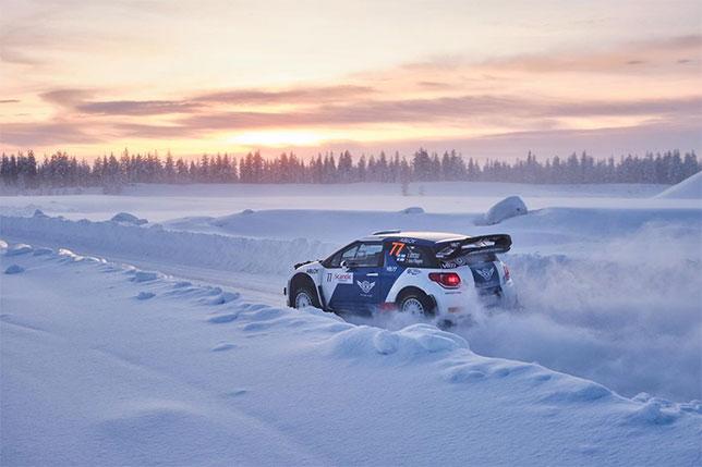 Валттери Боттас за рулём Citroen DS3 WRC во время шейкдауна на трассе Arctic Lapland Rally
