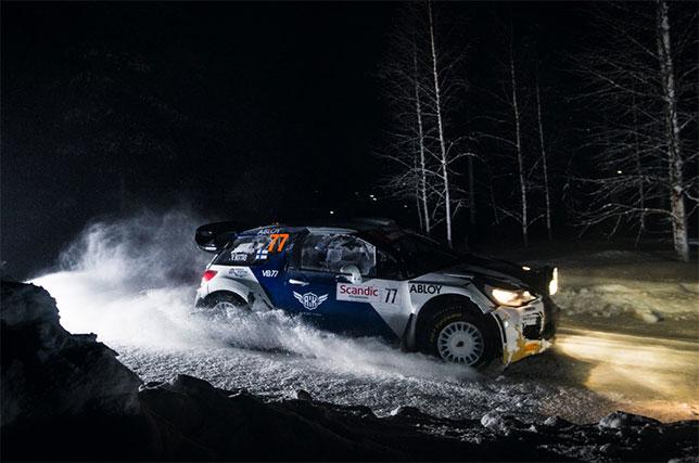 Валттери Боттас за рулём Citroen DS3 WRC на трассе Arctic Lapland Rally