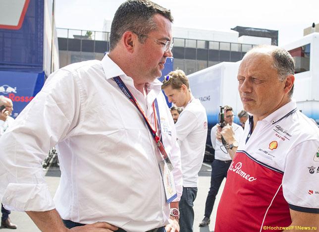 Эрик Булье и Фредерик Вассёр, руководитель команды Alfa Romeo
