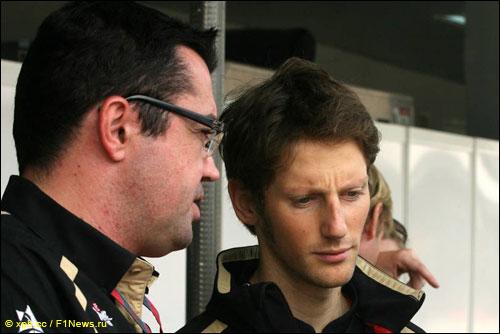 Управляющий директор LRGP Эрик Булье с пилотом команды Романом Грожаном
