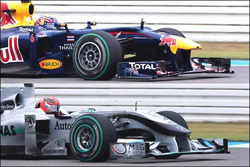 Передний антикрылья на машинах Red Bull Racing и Mercedes GP