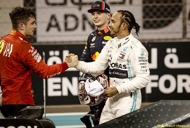 Шарль Леклер, Льюис Хэмилтон и Макс Ферстаппен после финиша Гран При Абу-Даби