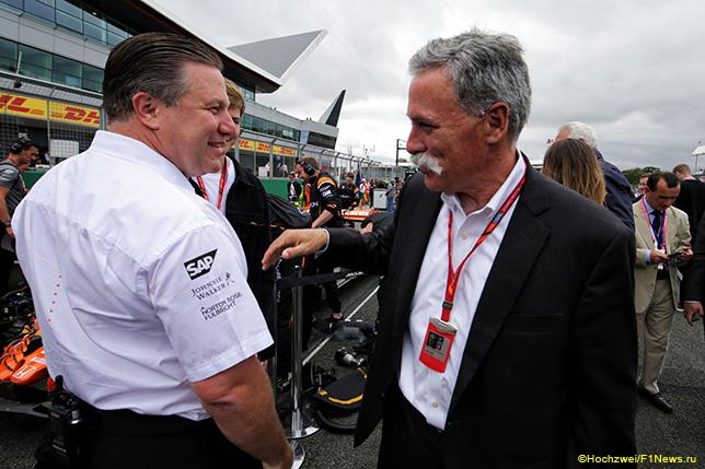 Зак Браун и Чейз Кэри, исполнительный директор Формулы 1