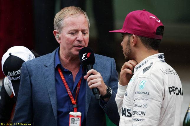 Мартин Брандл берет интервью у победителя Гран При Монако Льюиса Хэмилтона