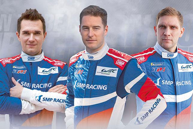 Михаил Алёшин, Стоффель Вандорн и Виталий Петров, фото SMP Racing