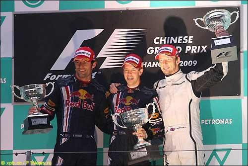 Марк Уэббер, Себастьян Феттель и Дженсон Баттон на подиуме Гран При Китая
