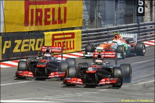 Дженсон Баттон и Серхио Перес на Гран При Монако