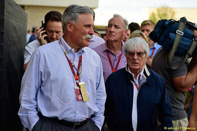 Чейз Кэри и Берни Экклстоун на Гран При США в Остине