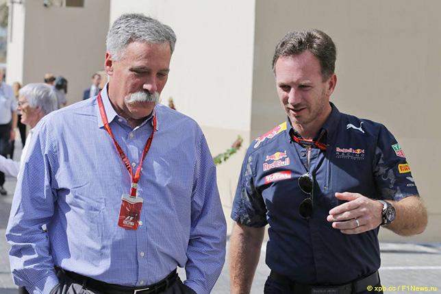 Чейз Кэри, новый глава Formula One Group, и Кристиан Хорнер, руководитель Red Bull Racing